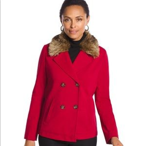 Chico's Red Faux Fur Peacoat Size 2
